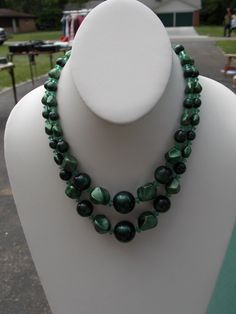 Vintage Green Beaded Necklace 1950s 1960s by sistersfuntreasures, $7.99