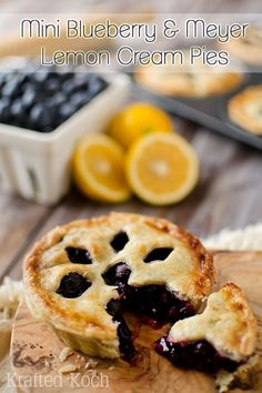 Mini Blueberry & Meyer Lemon Cream Pies are an individual dessert recipe with fresh blueberries and lemon in a flaky pie crust for a sweet treat perfect for your next holiday or party! Mini Desserts, Individual Desserts, Homemade Desserts, Just Desserts, Delicious Desserts, Dessert Recipes, Lemon Cream Pies, Perfect Pie Crust, Pie Crust Recipes