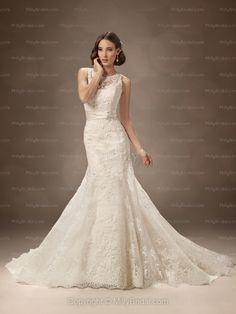 Trumpet/Mermaid Scoop Lace Satin Chapel Train Ivory Beading Wedding Dresses at Millybridal.com