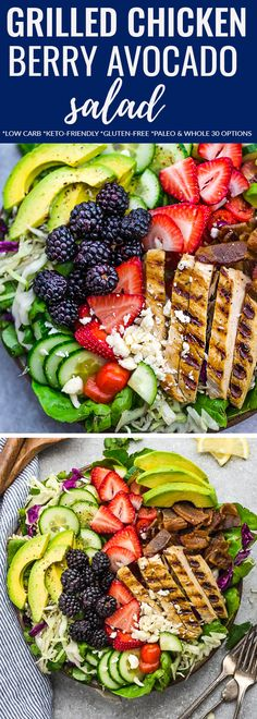 Summer Berry Grilled Chicken Salad – an easy and healthy lunch or dinner perfect for busy weeknights or summer potlucks. Made with avocado, cucumber, bacon, strawberries, blackberries and tomatoes with a tangy, fresh and flavorful lemon vinaigrette. #salad #berries #healthy #lowcarb #keto #grill #chicken #avocado #paleo #lemon #whole30 #lunch #summer #dinner