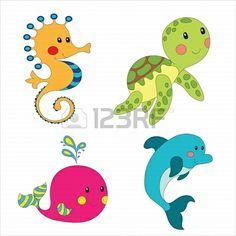 Set of cartoon sea creatures isolated on white.