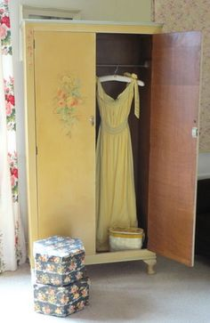 Vintage wardrobe with glorious painted floral sprays