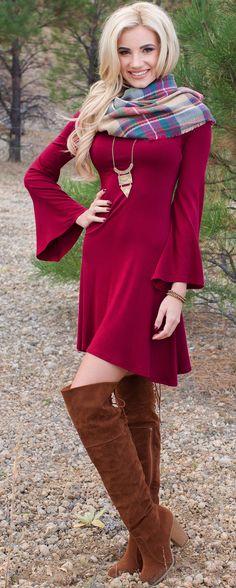 Matilda Bell Sleeve Dress - Burgundy