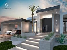 Find home projects from professionals for ideas & inspiration. Residencia 118 by Elias Braun Architecture Bungalow House Design, Modern House Design, Modern Landscape Design, Modern Exterior, Exterior Design, Modern Front Yard, House Entrance, Entrance Ideas, Facade House
