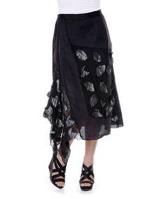 Black Petal Linen Skirt - Women & Plus by Firmiana #zulily #zulilyfinds