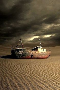 Ship in the middle of nowhere. Abandoned Ships, Abandoned Buildings, Abandoned Places, Post Apocalyptic Art, Ghost Ship, Old Boats, Shipwreck, Water Crafts, Fishing Boats