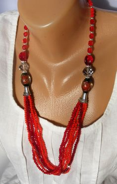 Fire Flower  Long Beaded Necklace / Seed Bead by BeadsNECKLACE
