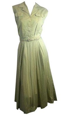 Olive Green and Yellow Abstract Dot Print Cotton Sleeveless Dress circa 1940s Dorothea's Closet Vintage Clothing