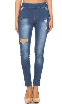 Women's Jeggings Distressed Skinny Denim Jeans: S/M/L Ripped Jeggings, Ripped Skinny Jeans, Distressed Skinny Jeans, Dark Wash Jeans, Blue Jeans, Denim Jeans, Comfortable Jeans, Comfy, Pull On Jeans