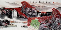 Rising Sun Red Leaves of Waterfall Landscape Abstract art Chinese Ink Brush Painting, 136*68cm Chinese wall scroll painting Freehand brush work Artist original works of handwriting Rice paper Traditional art painting. USD $ 984.00
