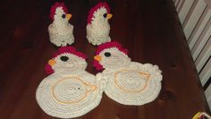 Crochet Chicken pot holders and egg cosies, a present for my brother and sister in law