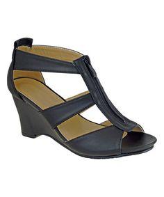 Look at this #zulilyfind! Black Zip Monica Sandal #zulilyfinds