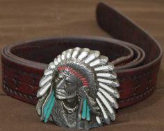 Cinturon Artesano hecho en cuero de baca de 3mm, repujado y hebilla tipo indio americano.