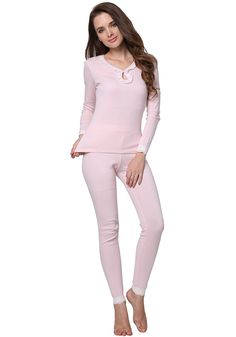 Godesen Women's Thermal Underwear Set Cotton Fabric Top  Bottom (XS ** For more information, visit image link. (This is an affiliate link) #WomensOutdoorClothing