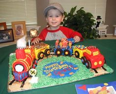 ABUNDANCE of TRAIN cake ideas on this web page!  I've pinned another pic as well, but it's worth re-pinning.  Everything you need here to come up with a great train cake idea!