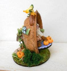 Fall harvest micro fantasy house in a walnut shell with by Lory (Italy) another view