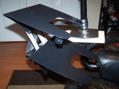 Leather Recliner Mod - Computer Chair - Instructables Portable Laptop Table, Laptop Tray, Leather Recliner, Wooden Tables, Strip Lighting, Office Desk, Hardware, Chair, Furniture