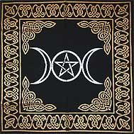 Triple Goddess Pentagrammed Altar Cloth - pagan wiccan witchcraft magick ritual