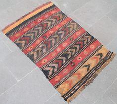 Turkish Rug 27''x41'' Hand Woven Konya Cicim Kilim 71x105cm #Turkish