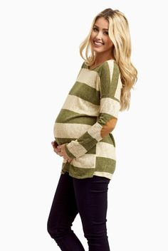 Maternity - Olive Striped Suede Elbow Knit Top