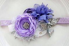 Lots of purple-y goodness in this headband! Shades of purple flowers with silver accents. All flowers are handmade.never store bought. Flores Shabby Chic, Shabby Chic Flowers, All Flowers, Fabric Flowers, Purple Flowers, Ribbon Hair Bows, Ribbon Work, Baby Dedication Invitation, Headband Tutorial
