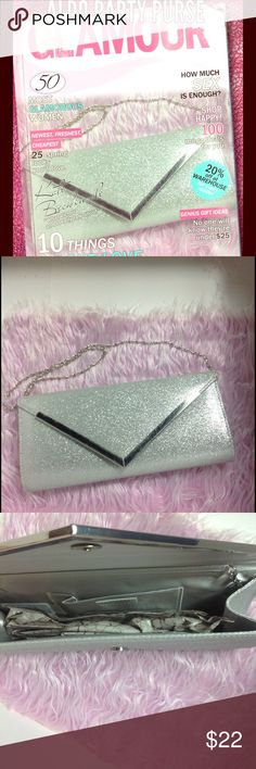 Aldo classic Hollywood glitter glam purse nwt Aldo glitter party purse nwt. Some scratching on the edging of each purse from shelf wear. Brand new with tags. Has short chain. Aldo Bags