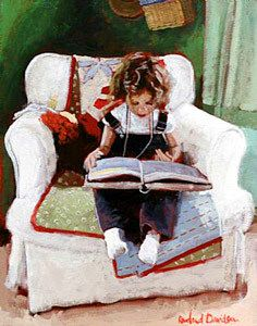 Reading and Art: Rowland Davidson. Girl in her favorite chair I Love Books, Good Books, Books To Read, My Books, Reading Art, Girl Reading, Children Reading, Reading Library, Reading Books