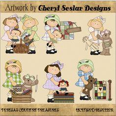 Cute Little #Sewing #Girls #Clipart