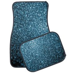 Beautiful Baby blue glitter sparkles Car Mat Set by #PLdesign #BlueSparkles #SparklesGift
