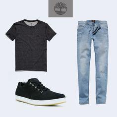 No final de semana vá de camiseta Gola a Fio, calça jeans Slim Moderna e tênis EK Urban. Um visual descolado que não deixa o estilo de lado!