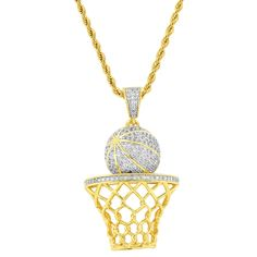 """Hip Hop Designer Iced out Basket Ball Pendant 14k Gold Finish with 24"""" Rope Chain"""