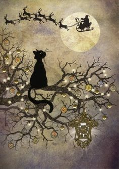 Moon Cat 5 Pack : Yule/Winter Solstice : Cards by Occasion / Recipient : Home : Pagan/spiritual and fairy/fantasy greeting cards, prints and gifts at Moondragon Christmas Pictures, Christmas Art, Animal Art, Cat Art, Vintage Cards, Art, Christmas Images, Cat Drawing, Prints
