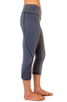 Yogi Clothing Active Side Shirred Crop Pants Heather Grey $67 @ www.downdogboutique.com  #YogaPants #YogaClothing #Yoga