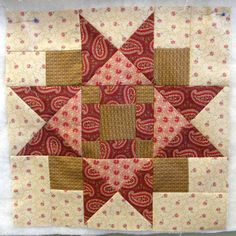 Civil War block - I should make a purple quilt using blocks like this. Maybe after I finish the farmers wife? Quilt Block Patterns, Pattern Blocks, Quilt Blocks, Star Patterns, Quilting Projects, Quilting Designs, Sewing Projects, Quilting Tips, Patchwork Quilt