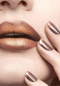 Bronze and golden, wow lips, ombre style, nail paint, nail polish