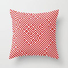 Optical Chaos 02 red Throw Pillow
