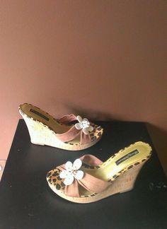 Beverly Feldman multi-color wedge  sandals Sz 8M, excellent condition #BeverlyFeldman #PlatformsWedges