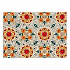 KESS InHouse Laura Nicholson 'Peach Heart' Orange Teal Dog Place Mat, 13' x 18' * Discover this special dog product, click the image : Dog food container