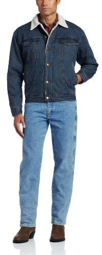 $75, Navy Denim Jacket: Wrangler Tall Rustic Lined Jacket. Sold by Amazon.com. Click for more info: https://lookastic.com/men/shop_items/8981/redirect