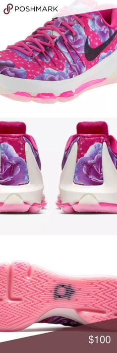 Kevin Durant Nikes Floral NWOT LIMITED EDITION  hyper pink floral shoes AUTHENTIC  NWOT  !!!!! Kevin Durant breast cancer Nikes with floral design ! These are Size 5y = 6.5 women's. Very pretty colors ! Great price . Sorry no trades on these Nike Shoes Athletic Shoes