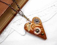 SALE Heart Pendant Necklace Handmade Beaded Jewelry Wish Long Boho Rustic Brown Repurposed