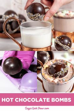 How to make beautiful, shiny and professional looking hot chocolate bombs! How to easily temper chocolate and simple decorating! Hot Chocolate Gifts, Hot Chocolate Mix, Hot Chocolate Recipes, Melting Chocolate, Christmas Desserts, Christmas Treats, Holiday Treats, Christmas Fun, Holiday Fun