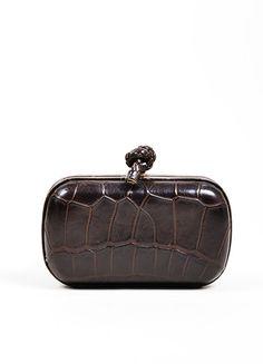 9973357dce Brown Bottega Veneta Crocodile Leather Knot Minaudiere Clutch Bag
