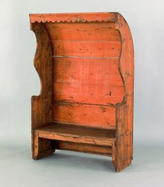 Gracious!  What an absolutely incredible pine settle bench, ca. 1780, with a curved roof.  THIS is why I love country furniture.