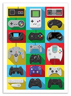 Mythical Art Controller Video Games Poster - 50 x 70 cm