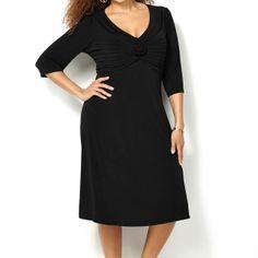 Solid Rosette Dress-Plus Size Dress-Avenue