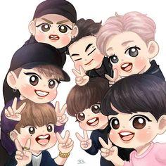 Got7 Fanart, Kpop Fanart, Got7 Youngjae, Bambam, Kpop Drawings, Cartoon Drawings, Art Drawings, Jinyoung, K Pop