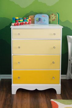 Yellow Ombre Dresser - what a happy pop of color that transitions from the nursery to kids room!