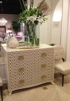 Ferguson Copeland Steela Hall Chest  by Larry Laslo. Finished in cream linen lacquer with hand applied Chinese symbol. Delicate detail around the base with a curved leg. Hardware is a mix of Asian influence with a splash of Hermes making it a true classic. I love this 4 an entry, hallway, or family room.  100 East Green #hpmkt #lacquer #pattern #classic