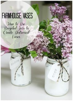 Create With Me: DIY Farmhouse Vases Farmhouse Distressed Jars- Painted Jars- Distressing jars- recycling pantry jars- farmhouse style- flower arrangements- DIY vases- Jar vases- Create with Me Challenge, Pot Mason Diy, Mason Jar Crafts, Mason Jars, Farmhouse Vases, Farmhouse Style, Do It Yourself Decoration, Diy Home, Home Decor, Pickle Jars